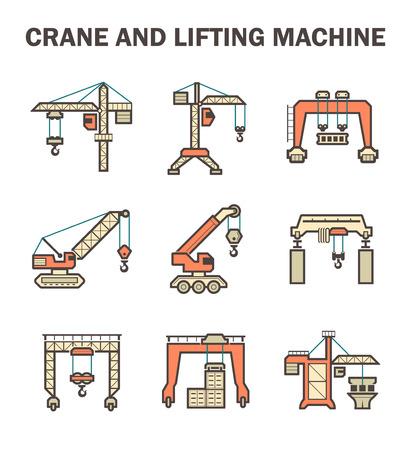 scaffold: Crane and lifting machine icons sets. Illustration