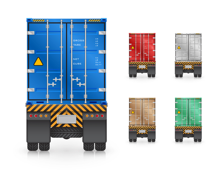 wheeler: Vector of trailer truck and cargo container isolated on white background.