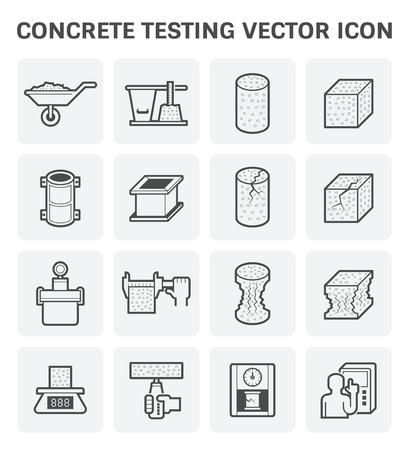 intact: Concrete testing vector icon set design. Illustration