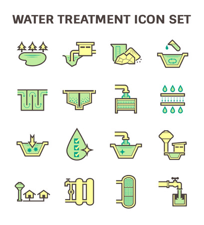 waterworks: Water treatment and water supply icon set design.