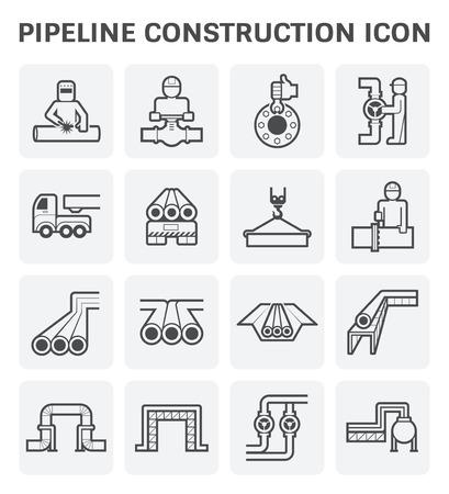파이프 라인 건설 산업 벡터 아이콘 세트 디자인 흰색 배경에 고립입니다.