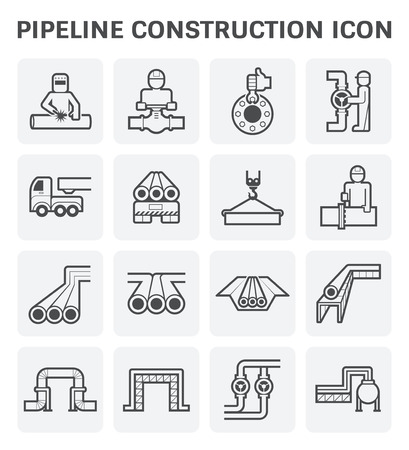 industry: pipeline construction industry vector icon set design isolated on white background. Illustration