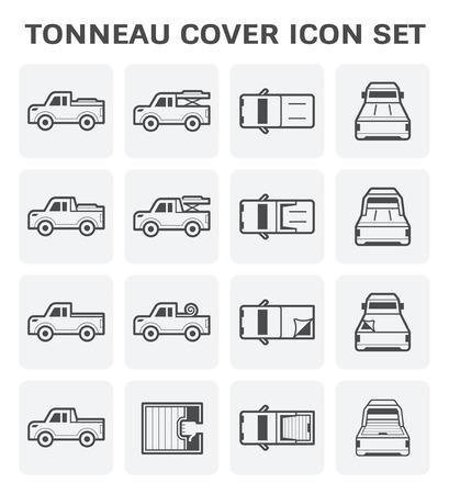 couverture de Tonneau et camionnette vecteur icône ensemble.
