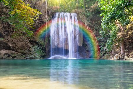 erawan: Erawan waterfall, Thailand. Stock Photo