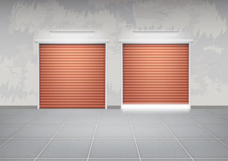 hangar: Shutter door or roller door and concrete floor outside building use for background.