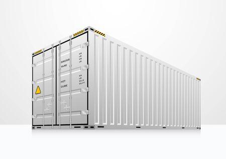 cargo container: cargo container in white room. Illustration