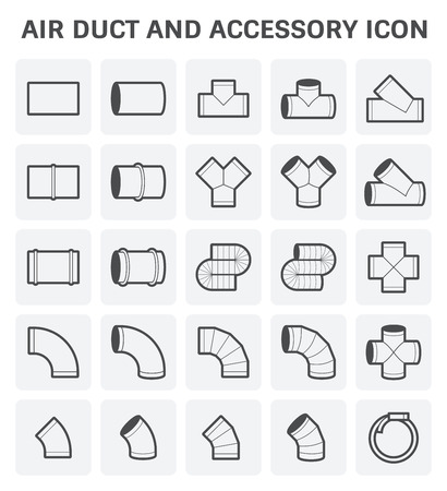 duct: icon of air duct and accessory for air conditioning or HVAC system.