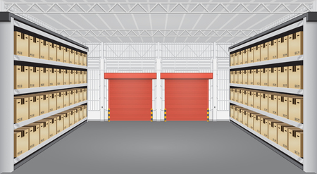 warehouse building: box on rack and warehouse building. Illustration