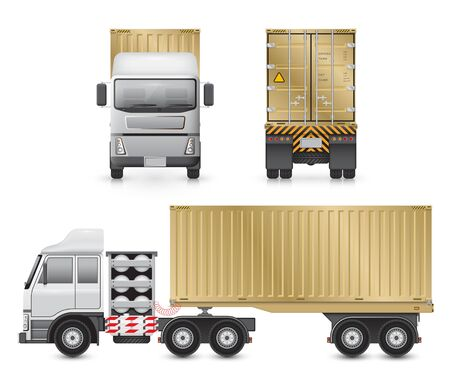 front view: trailer truck and cargo container for shipping and transportation isolated on white background. Illustration