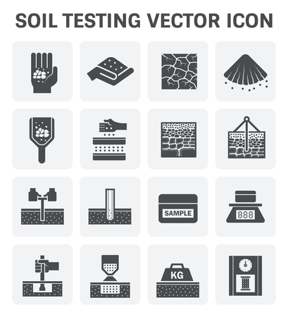 grounds: Vector icon of soil and soil testing. Illustration