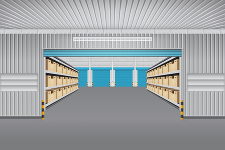 Interior of warehouse building with cargo container box on shelves. Illustration