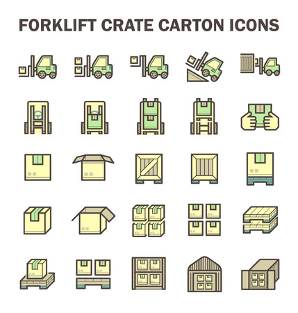 handcart: Forklift working with box and warehouse vector icon sets.