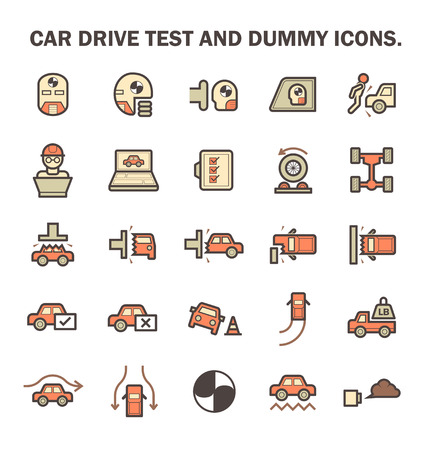 qc: Car test drive and dummy vector icon sets.