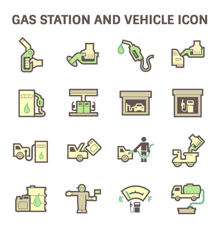 ngv: Gas and oil station vector icon set.