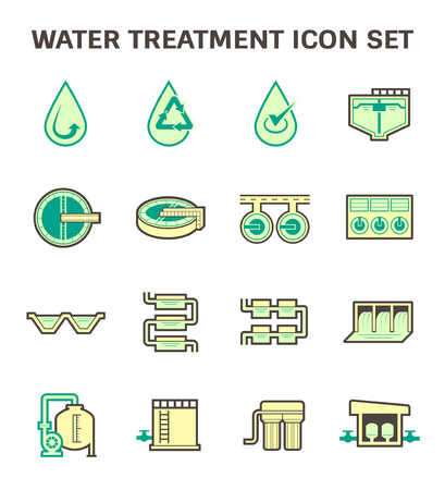 effluent: Water treatment vector icon sets design. Illustration
