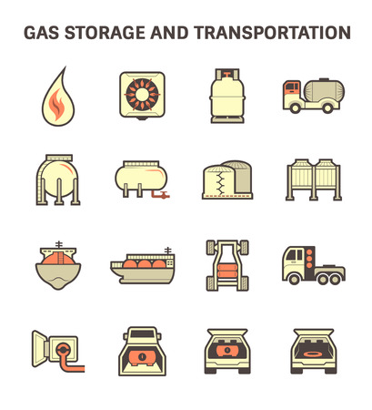 stove pipe: Gas storage and transportation icon sets.