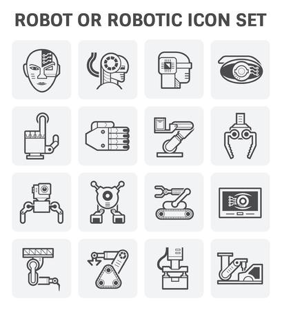 mechanic: Robot or robotic vector icon set design.