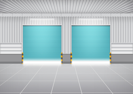 front gate: Vector of shutter door or roller door and concrete floor outside factory building use for industrial background. Illustration