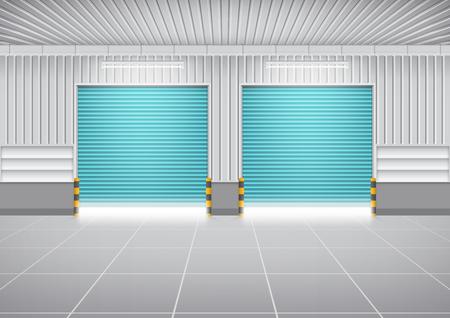 roller shutters: Vector of shutter door or roller door and concrete floor outside factory building use for industrial background. Illustration