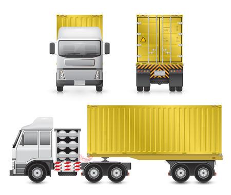 portada: Vector de camión de remolque y contenedor de carga para el transporte y el transporte aislado en el fondo blanco.