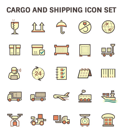 wood sign: Cargo and shipping vector icon set.
