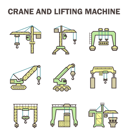 overhead crane: Crane and lifting machine icons sets. Illustration