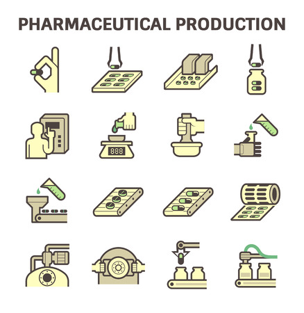 industry icons: Pharmaceutical production vector icon sets design.
