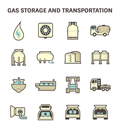 compressed gas: Gas storage and transportation icon sets.