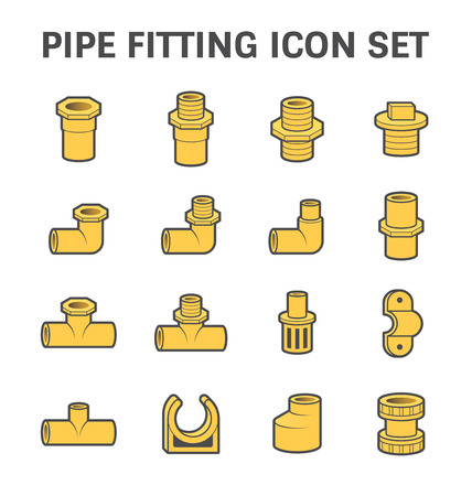 sanitary engineering: Vector icon of pipe fitting or pipe connector for plumbing and piping work. Illustration