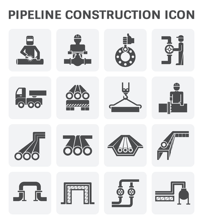 pipeline construction industry vector icon set design isolated on white background. Vettoriali