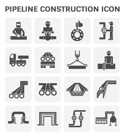 Rurociąg budownictwa zestaw ikon wektorowych projektu samodzielnie na białym tle.