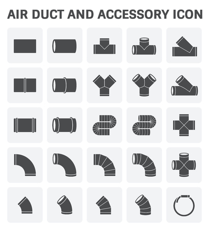 duct: Vector icon of air duct and accessory for air conditioning or HVAC system.