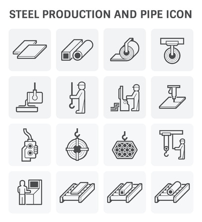 sheet metal: Steel production and pipe vector icon set design.