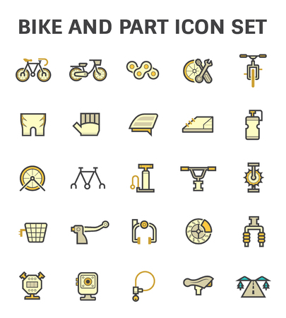 Bike and part vector icon set.