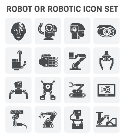 robot head: Robot or robotic vector icon set design.