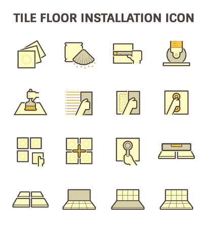 installation: Tile floor installation and material vector icon set.