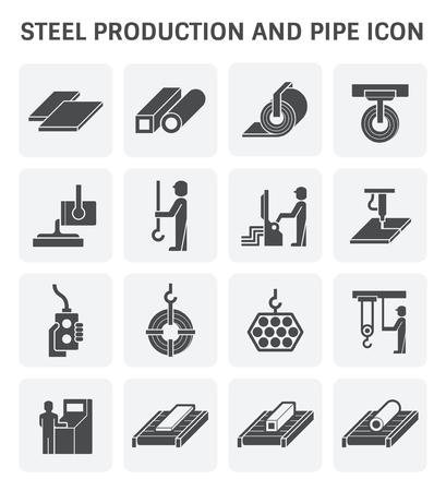 acero: La producción de acero y el vector de tubería de diseño conjunto de iconos. Vectores