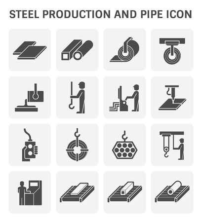 smelting plant: Steel production and pipe vector icon set design.