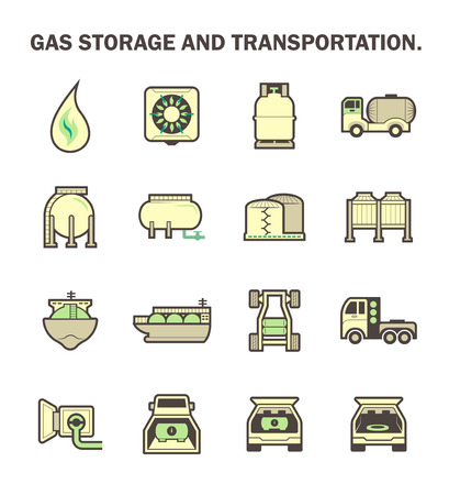 propane: Gas storage and transportation icon sets.