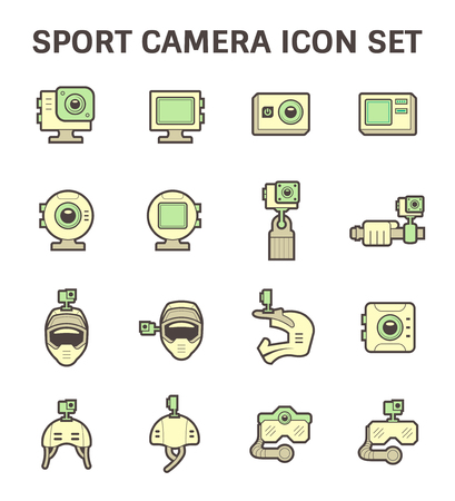 sport equipment: Sport camera and photography equipment vector icon sets.