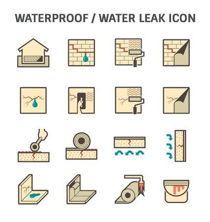 Impermeabilización y agua filtrada conjuntos de iconos de diseño vectorial.