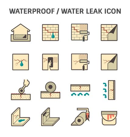 proofs: Waterproofing and water leaked vector icon sets design. Illustration