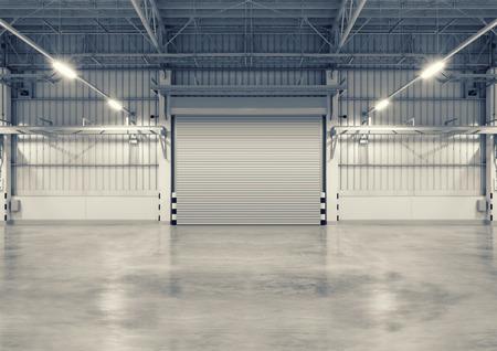 Shutter door and concrete floor, blue color, night scene. Фото со стока - 62145706