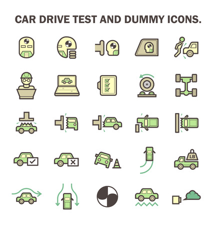 test drive: Car test drive and dummy vector icon sets.