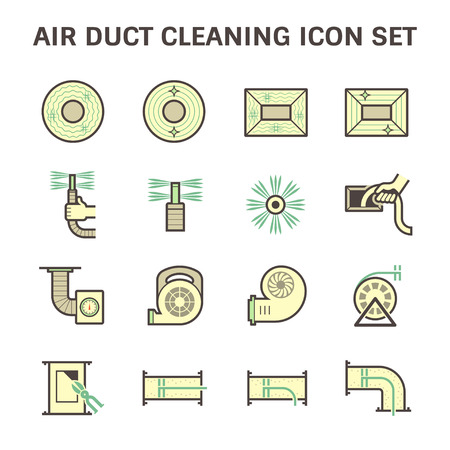 duct: Air duct pipe cleaning vector icon sets.
