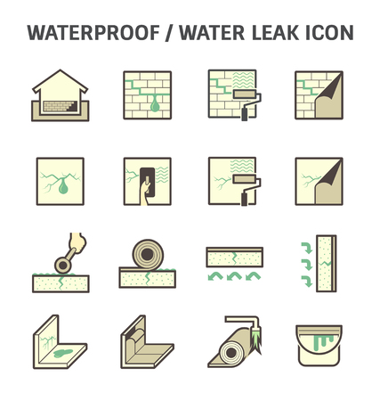 primer: Waterproofing and water leaked vector icon sets design. Illustration