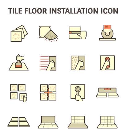 Fliesenboden Montage und Material Vektor-Icon-Set.