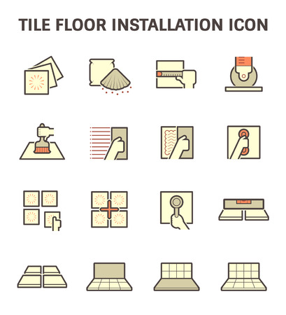 tile floor: Tile floor installation and material vector icon set.