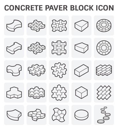 concrete blocks: Concrete paver block or paver brick vector icon sets.