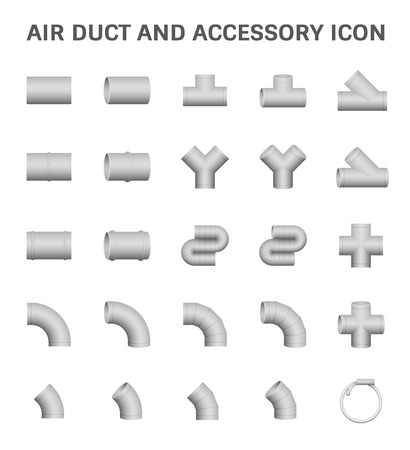 air duct: Vector icon of air duct and accessory for air conditioning or HVAC system.